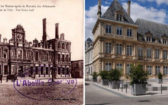 Les ruines de l'hôtel de ville après l'incendie de 1917