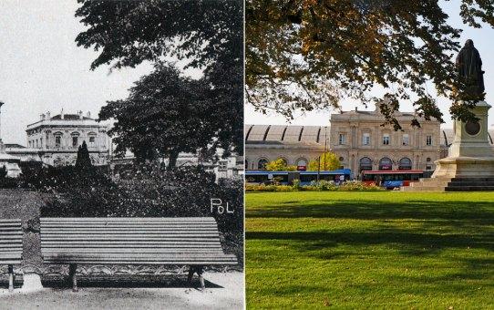 Le square Colbert et la gare