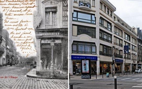 """La rue de l'Étape et le magasin """"Au petit Paris"""""""