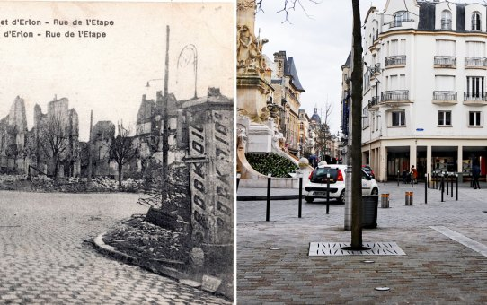 La place Drouet d'Erlon et la rue de l'Étape