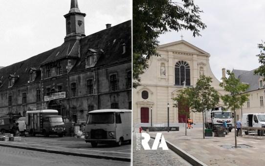 Le marché de la place Museux, devant l'église Saint-Maurice