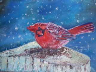 """Acrylic on Canvas, """"Chillin' Redness"""", size: 16X12, $175"""