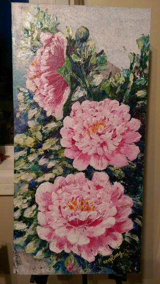 """Acrylic on Canvas, """"Pick Peonies"""", 16X24, Sold"""