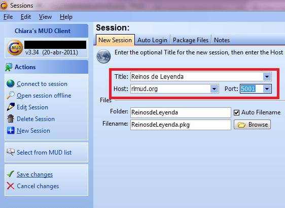 Cómo conectarse con ZMud o CMud - Paso 2
