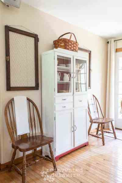 full view of restored antique kitchen cupboard