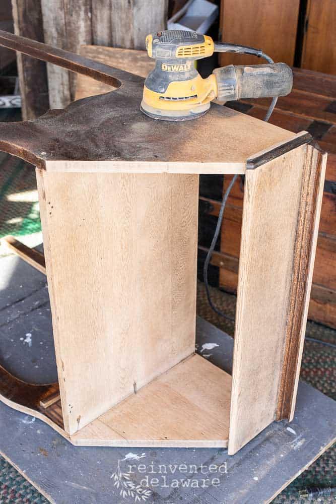 fold down secretary desk laying on it's side for sanding