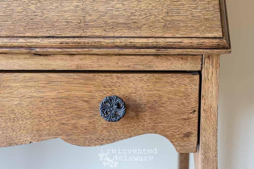 restored vintage hardware on antique oak fold down desk