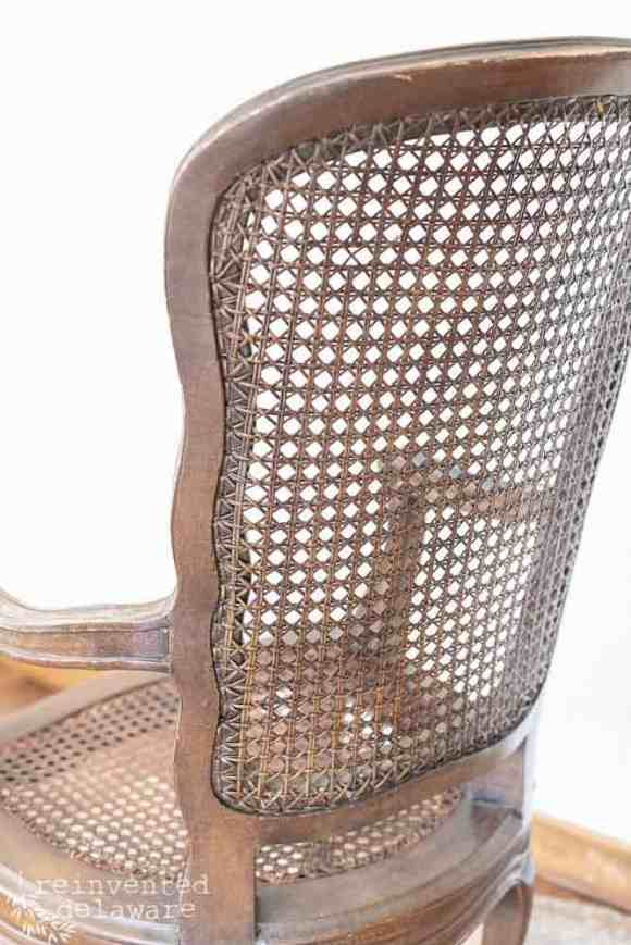 caned chair back showing caning in good shape