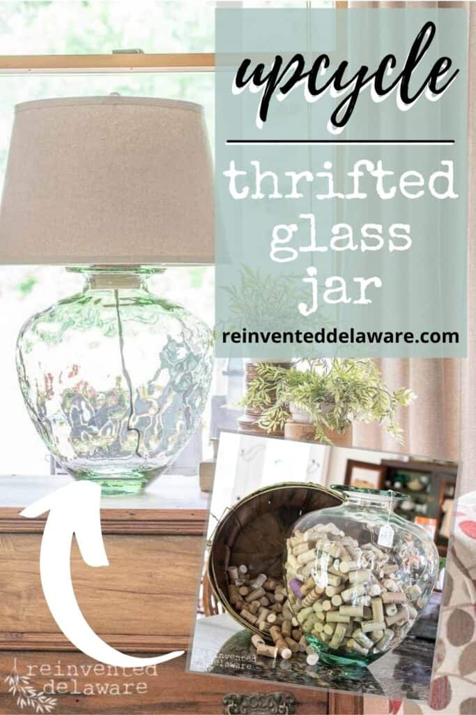 pinterest graphic showing before and after of thrifted glass jar upcycle