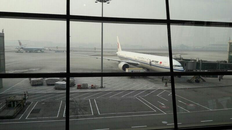 Mit Air China in Peking angekommen