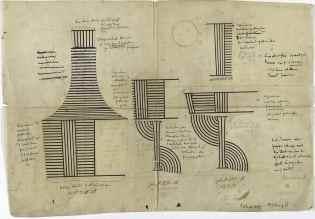Josef Hoffmanns Werkzeichnung zur Serie B, Wiener Werkstätte