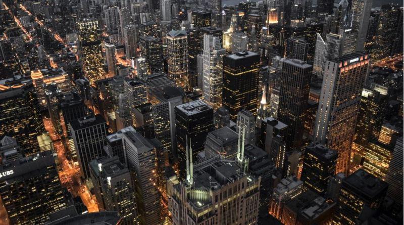 Luftaufnahme Chicago bei Nacht