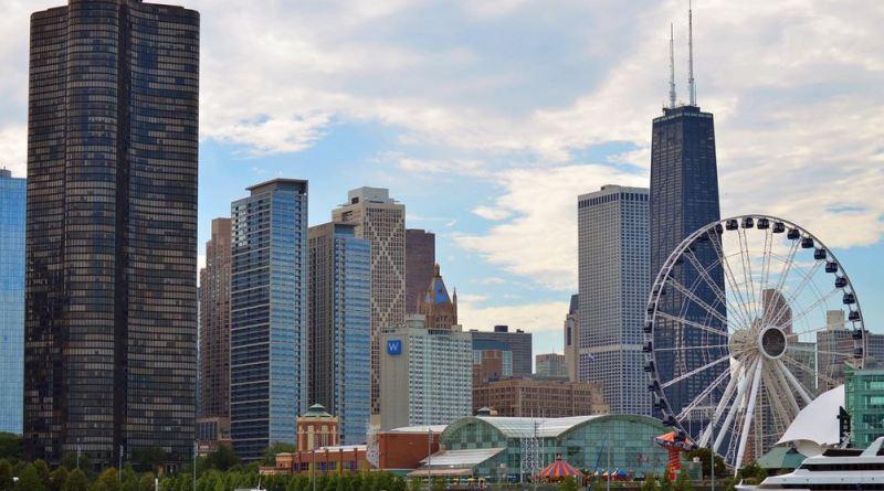 Skyline Chicago mit Riesenrad