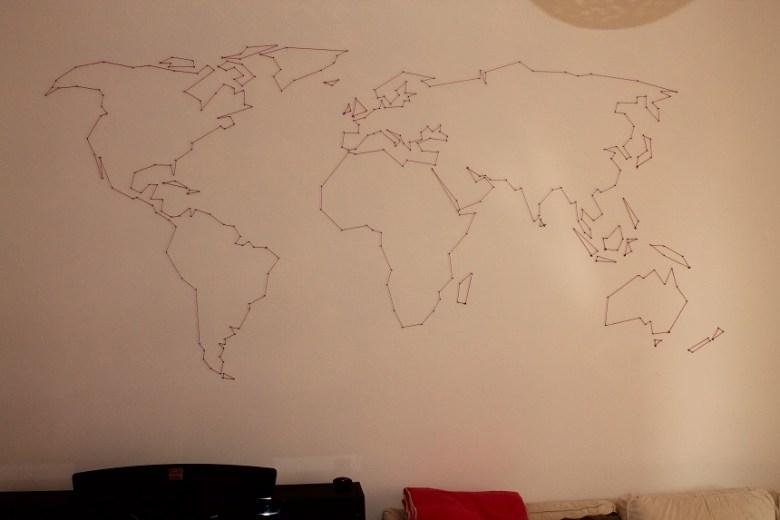 Weltkarte Nagelbild