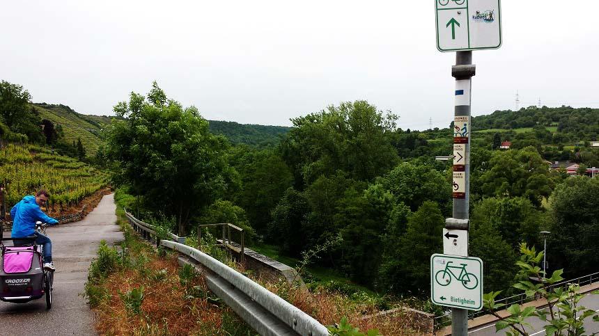 Direkt hinter Besigheim oberhalb der langsam mäandernden Enz beginnt der Einstieg in den Enztalradweg von Besigheim aus.
