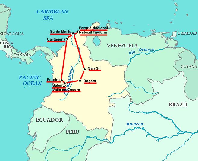 Geplante Reiseroute Kolumbien