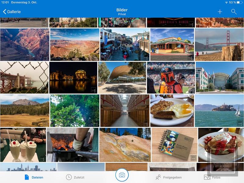 Benutzeroberfläche von OneDrive