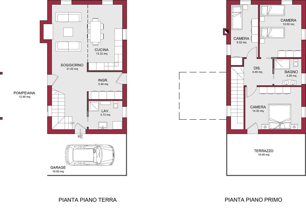 MODELLO BURANO 122 M2  CASA IN LEGNO CON TETTO A 2 FALDE A PARTIRE DA 16200000