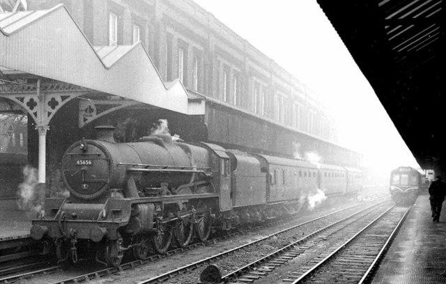 Een stoomtrein bij Manchester Central in 1961