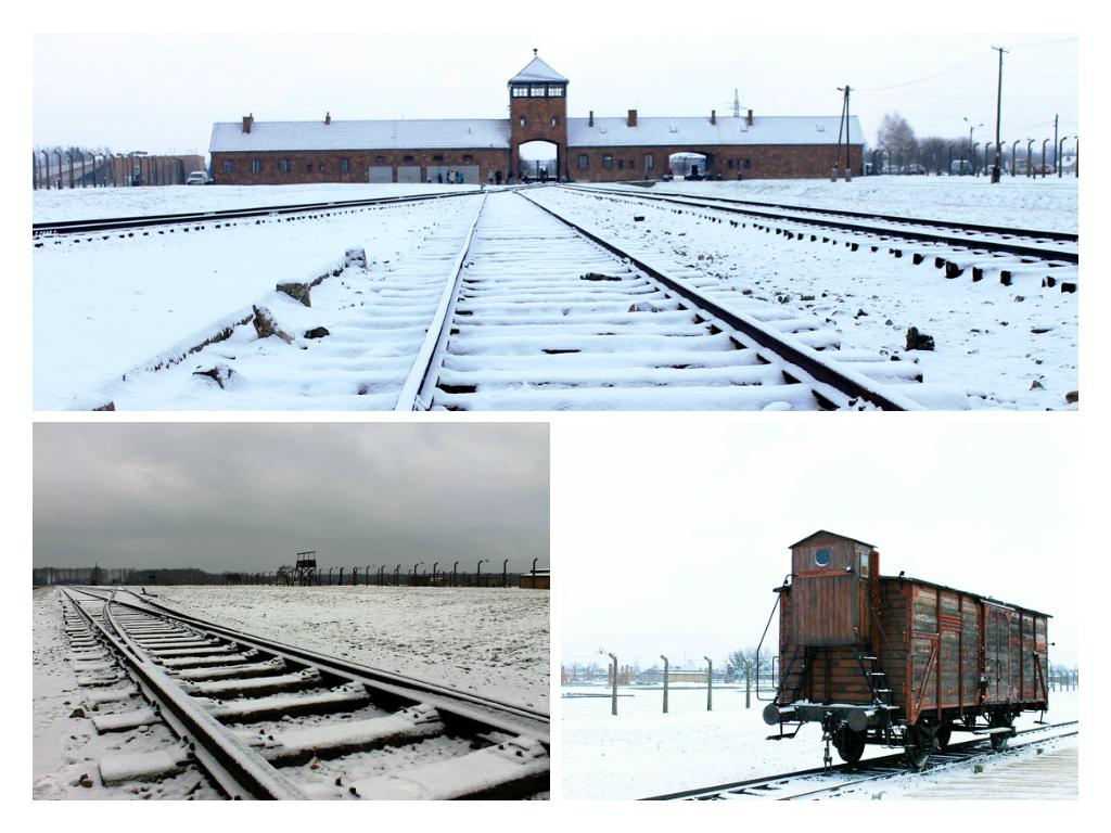 Toegang tot Auschwitz II - Birkenau per spoor en het uitstapperron. ,et een transportwagon.