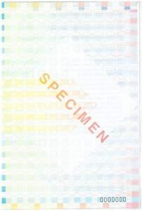 Wzór Holenderskiego tranzytowego dowodu rejestracyjnego (tenaamstellngsbewijs) rewers