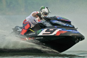 Enjoying with water motorbike