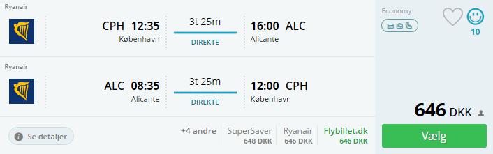Fly til Alicante i Spanien