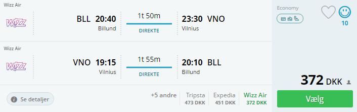 Flybilletter til Vilnius i Litauen