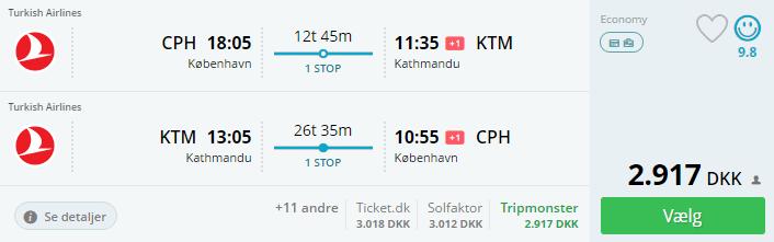 Billige flybilletter til Katmandu i Nepal
