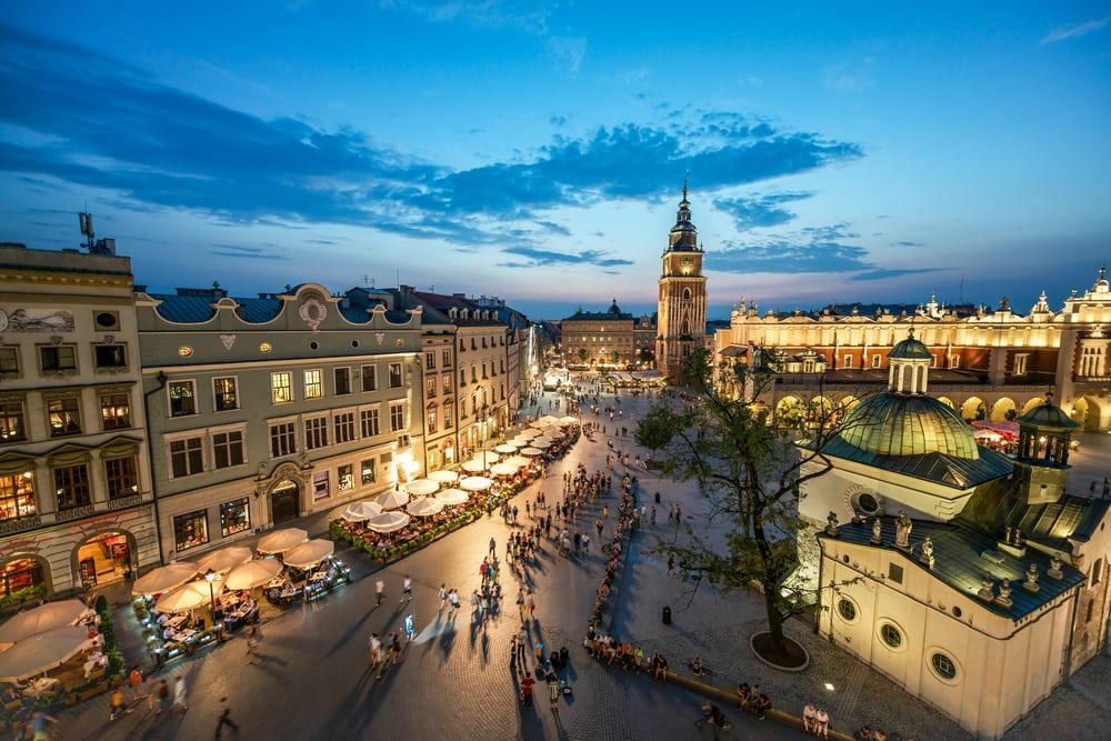 Markedsplads i Krakow i Polen