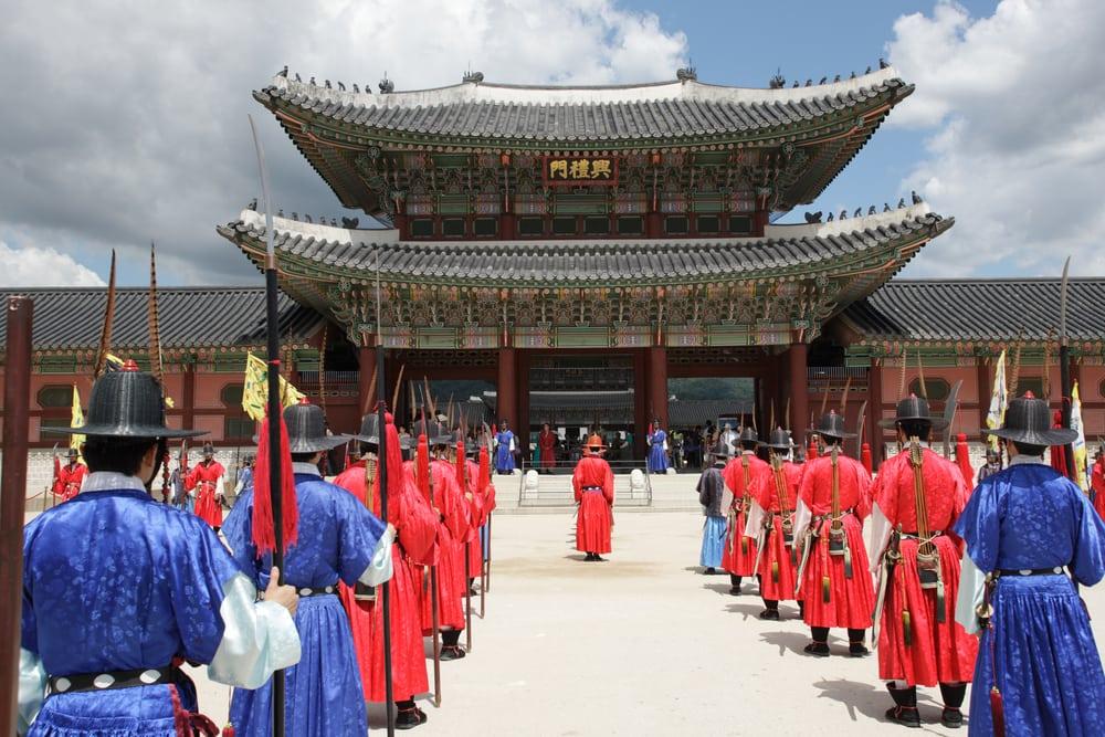 Kyongbokkung paladset i Seoul i Sydkorea
