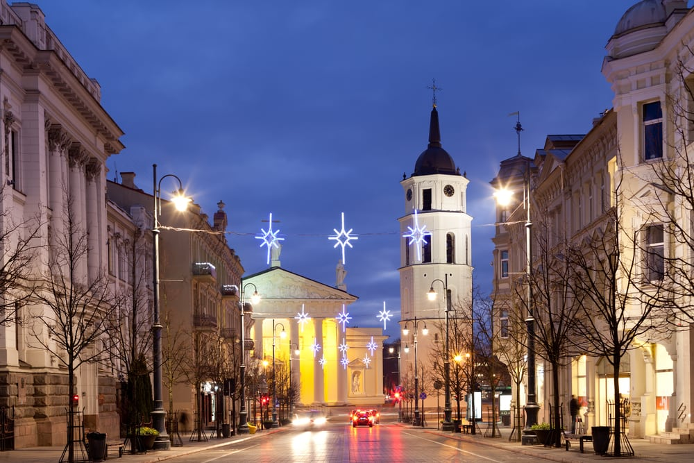 Vilnius i Litauen ved juletid