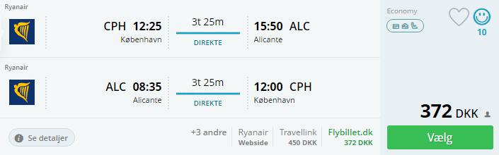 Flybilletter til Alicante i Spanien