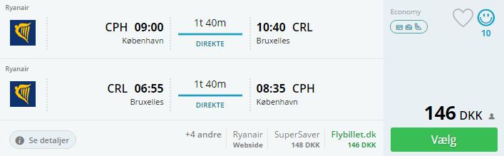 Flybilletter til Bruxelles i december 2016