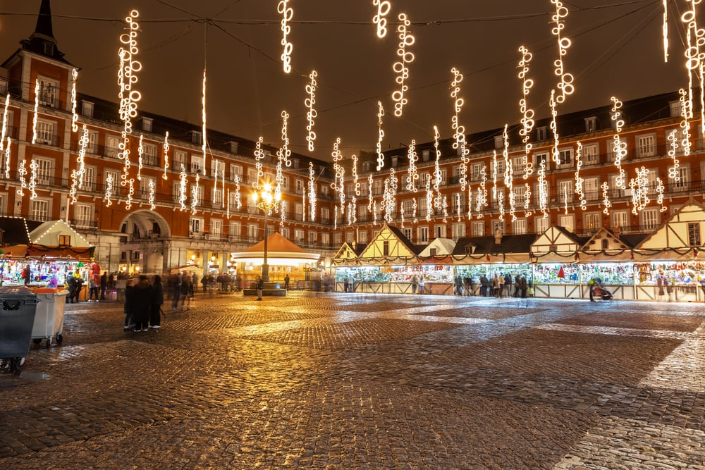 Jul i Madrid i Spanien
