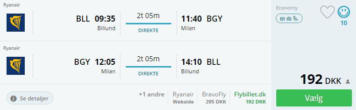 Flybilletter til Milano i Italien