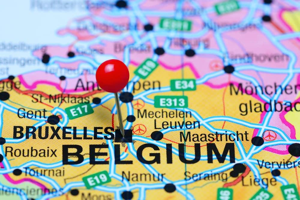 Kort over Belgien