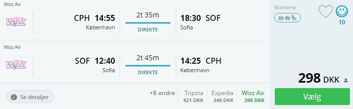Flybilletter til Sofia i Bulgarien