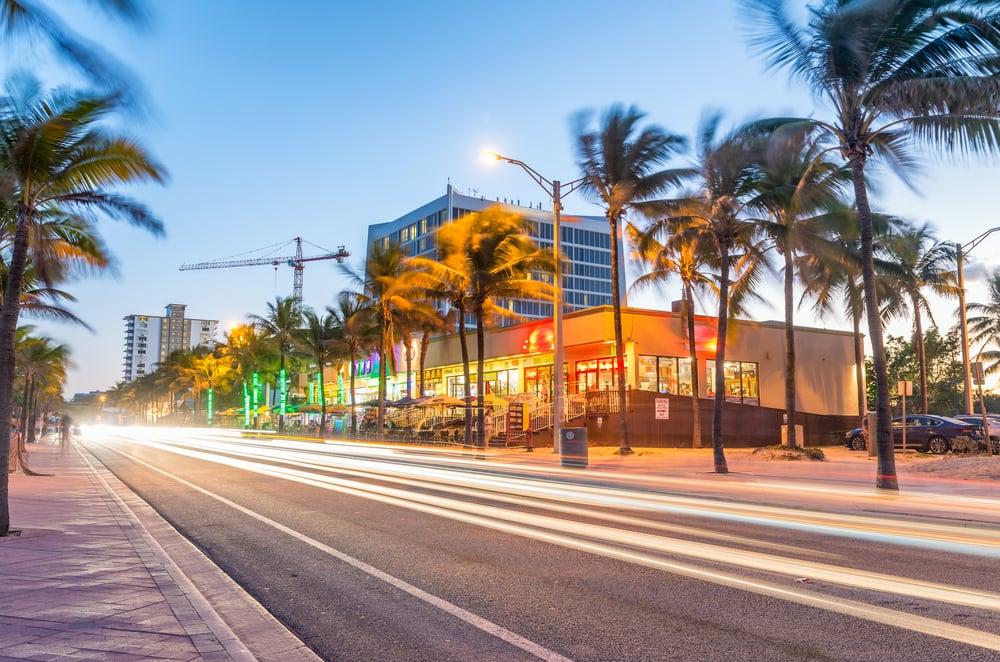 Fort Lauderdale i Florida i skumringen