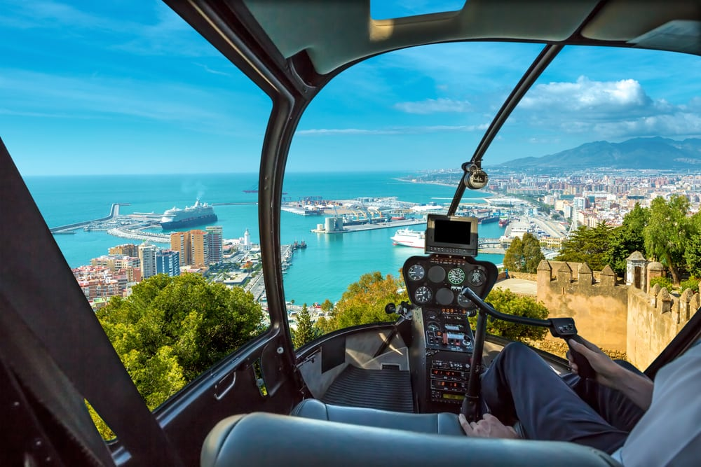 Helikoptertur over Malaga i Spanien