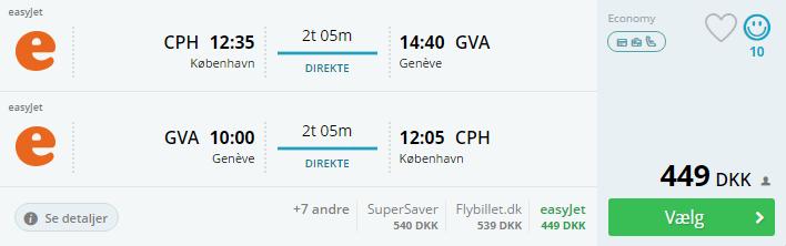 Flybilletter til Geneve i Schweiz