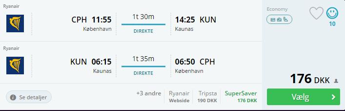 Billige flybilletter til Kaunas i Litauen