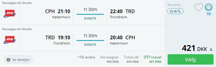 Flybilletter til Trondheim i Norge