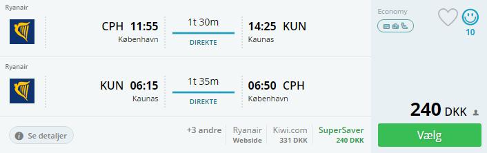 Flybilletter til Kaunas i Litauen