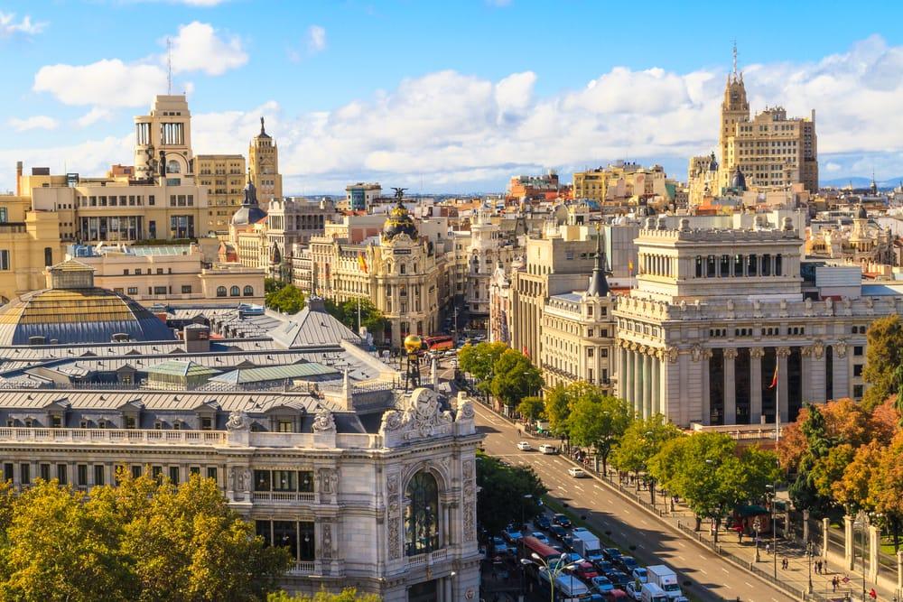 Shoppinggaden Gran Via - Madrid i Spanien