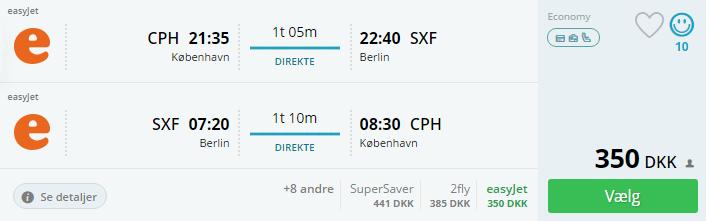 Tur/retur flybilletter til Berlin