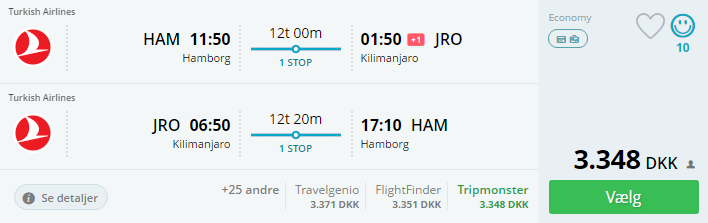 Billige flybilletter til Kilimanjaro i Tanzania