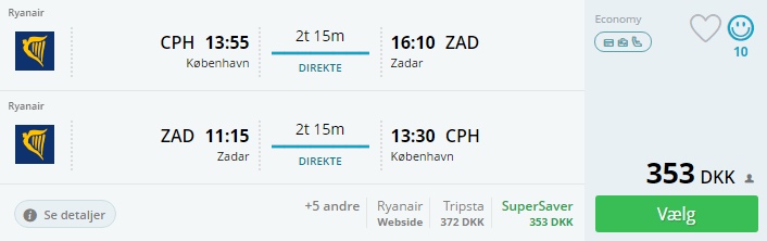Billige flybilletter til Zadar i Kroatien