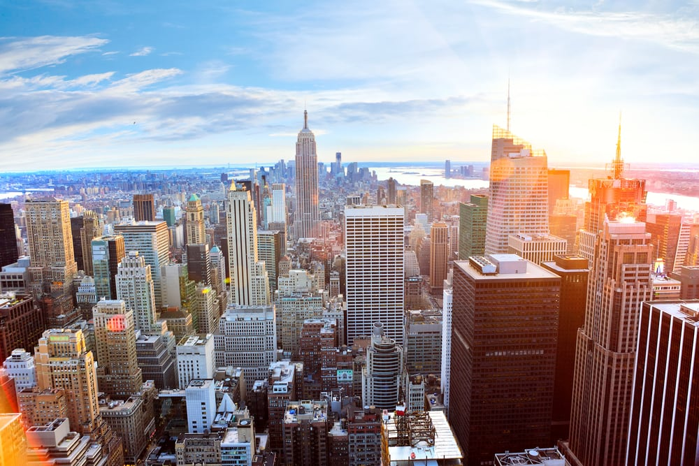 Manhattan skyline - New York City i USA