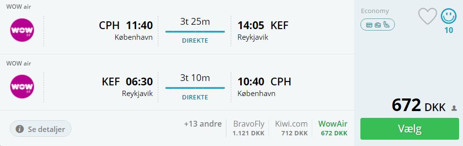 Fly fra Kbh til Island
